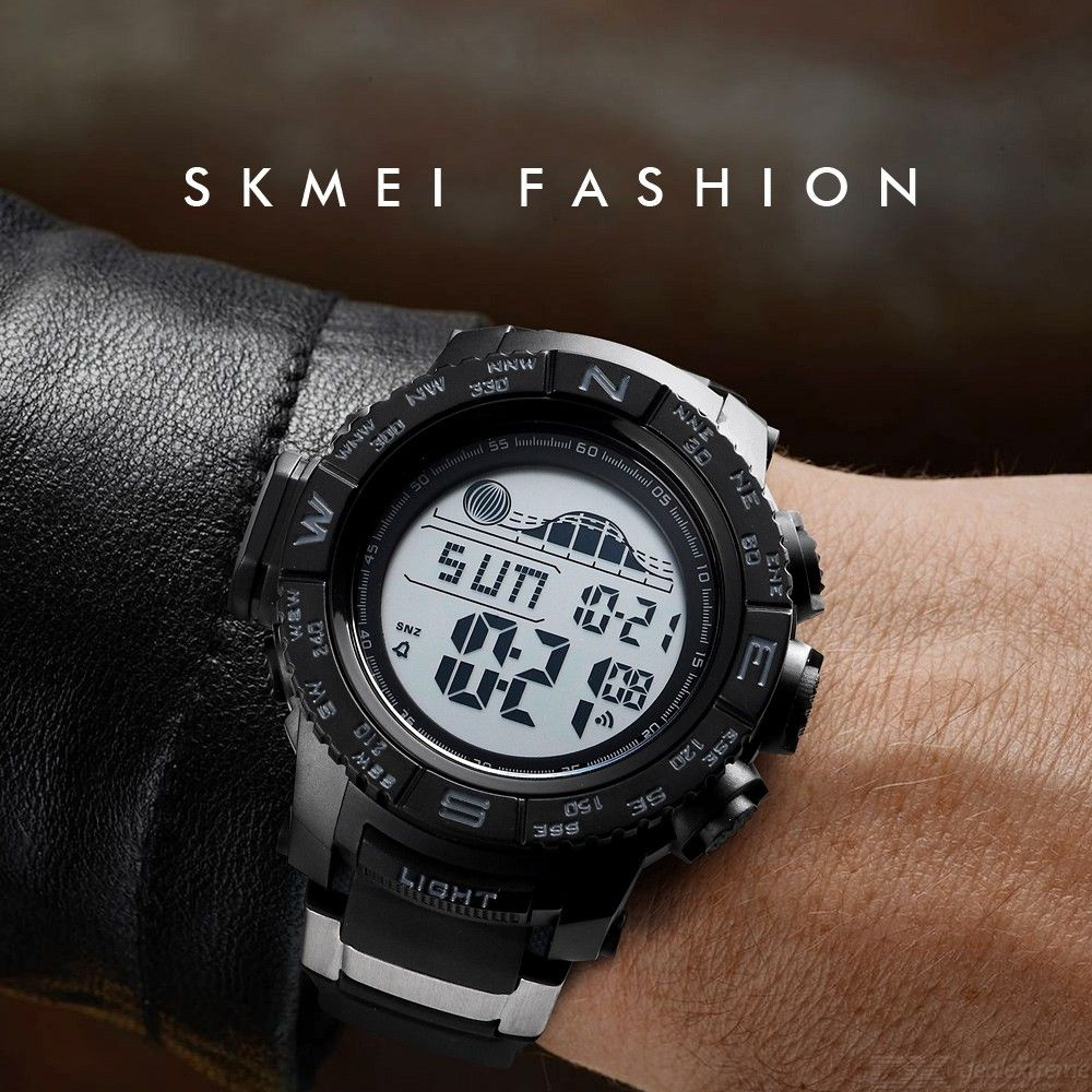 SKMEI Mens 56mm Sports Watch With Stainless Steel Watchband, Waterproof Digital Watch For Men 1380