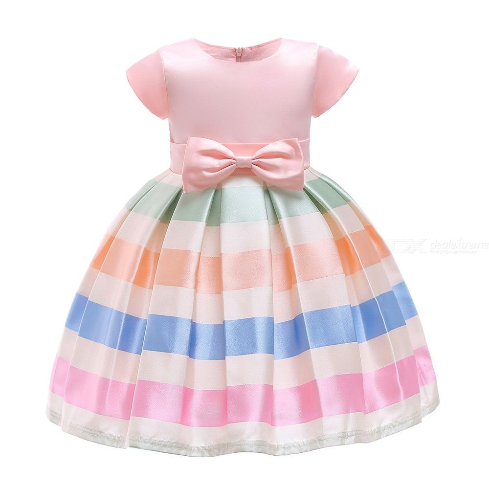 Childrens Round Neck Short Sleeve Striped Dress, Girls High-rise Bow Evening Dress With Ruffles