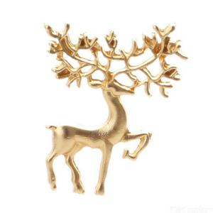 Fashion Retro Reindeer Deer Head Matte Gold Christmas Brooches Fashion Jewelry Gift Accessories