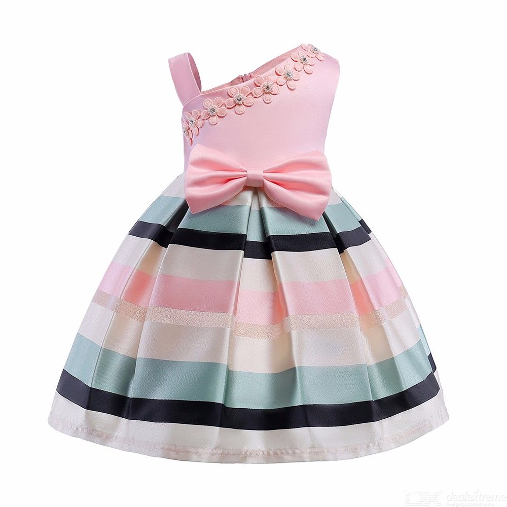 Childrens Sleeveless Strappy Dress With Beaded Details, One-shoulder Striped Evening Dress For Girl