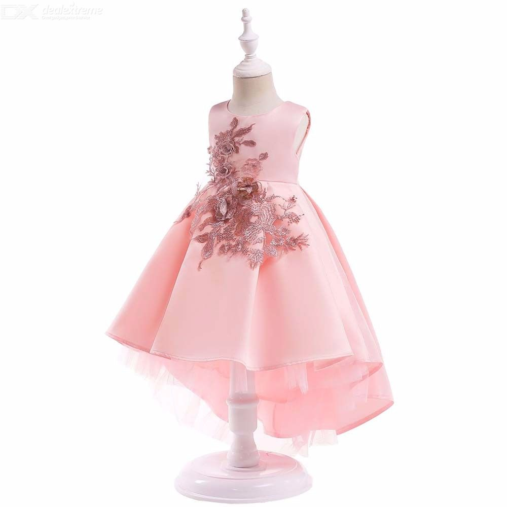 Childrens-Round-Neck-Sleeveless-Satin-Dress-With-Front-Applique-Girls-High-rise-Bubble-Gown-With-Ruffled-Hem