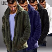 Mens Turn-down Collar Long Sleeve Cashmere Coat With Hood, Casual Long Solid Plush Cardigan For Men