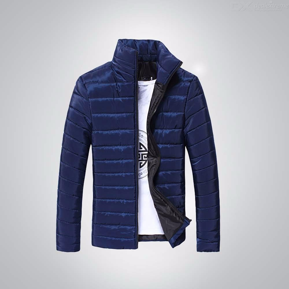 New Men's Clothing Stand Collar Short Paragraph Slim Thickening Zipper Warm Cotton Over Coat