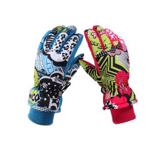 Thicken Ski Gloves Children Windproof Waterproof Adjustable Snowboard Climbing Cycling Snow Gloves