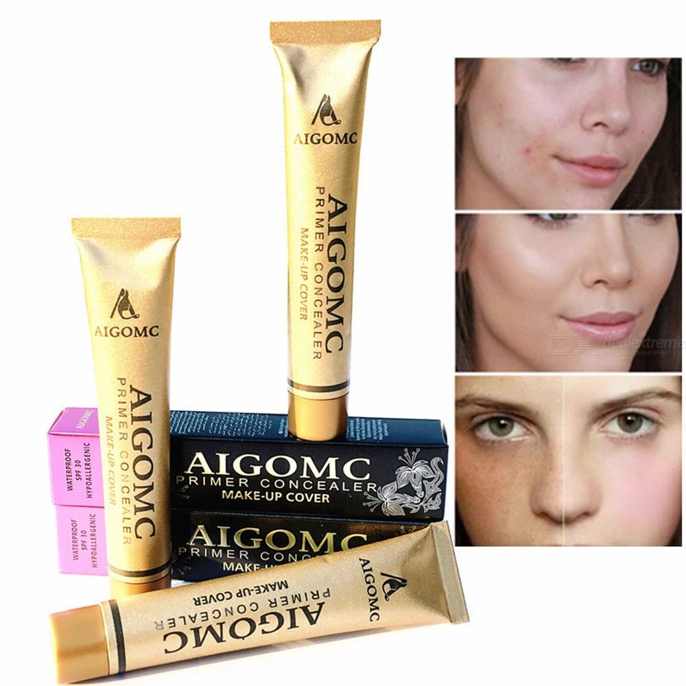 Liquid Foundation Concealer Puff Kit Acne Tattoo Spots Cover Makeup Small Gold Tube Liquid Concealer
