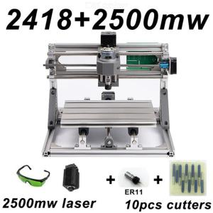 CNC2418 DIY Laser Engraving PCB Milling Machine Wood Carving Router(ER11+10Pcs Cutters+2500mw Laser+Protect Glasses)