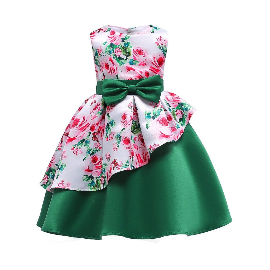 Childrens Round Neck Sleeveless Floral Print Dress, Girls High-rise Bow Evening Dress With Asymmetric Hem