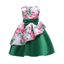 Childrens-Round-Neck-Sleeveless-Floral-Print-Dress-Girls-High-rise-Bow-Evening-Dress-With-Asymmetric-Hem