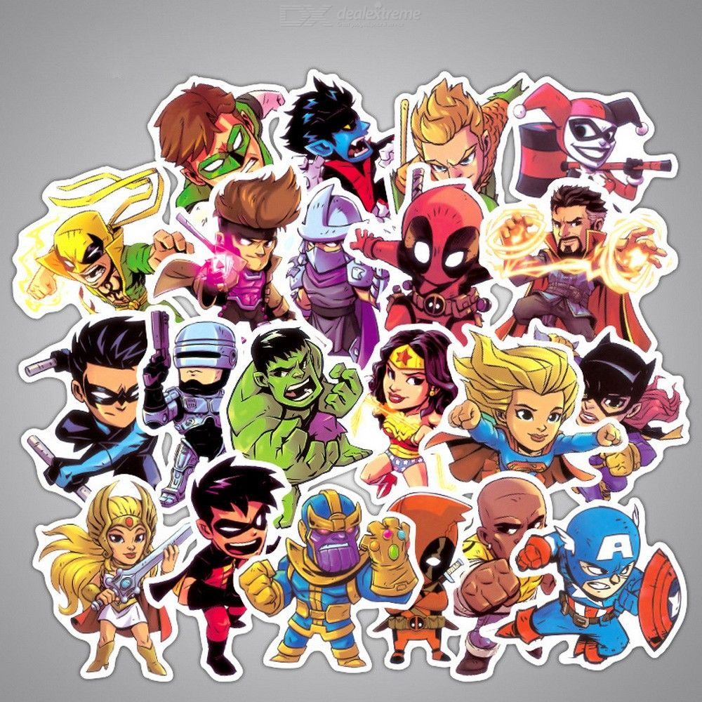 50PCS Super Hero Stickers For Luggage Laptop Skateboard Bicycle Motorcycle Decals Waterproof Sticker Random Color