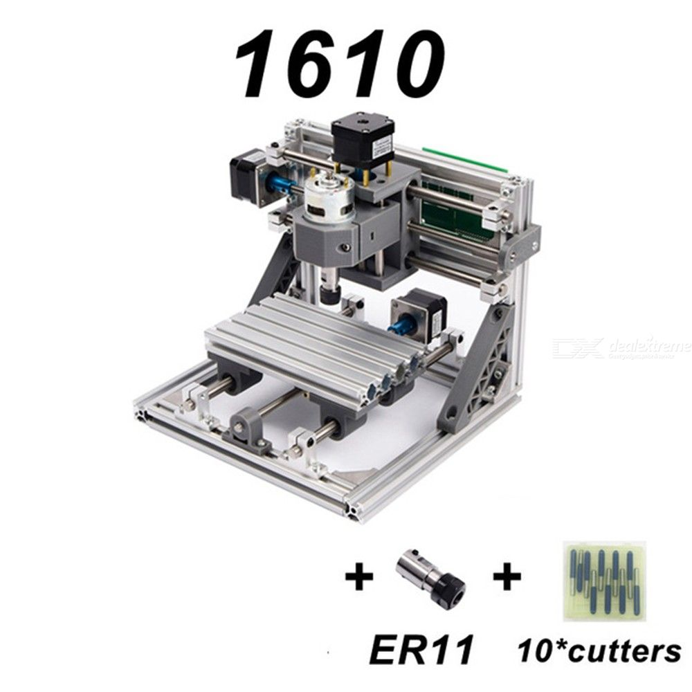 1610 Mini DIY Desktop CNC Router Wood Cutter PCB Milling Engraving Laser Machine
