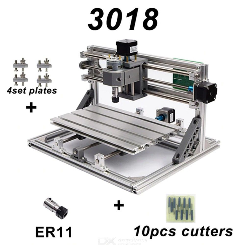 CNC3018-With-ER11-DIY-Engraving-Machine-Laser-PCB-PVC-Milling-Machine-Wood-Router(with-ER11-2b-10Pcs-Cutters)
