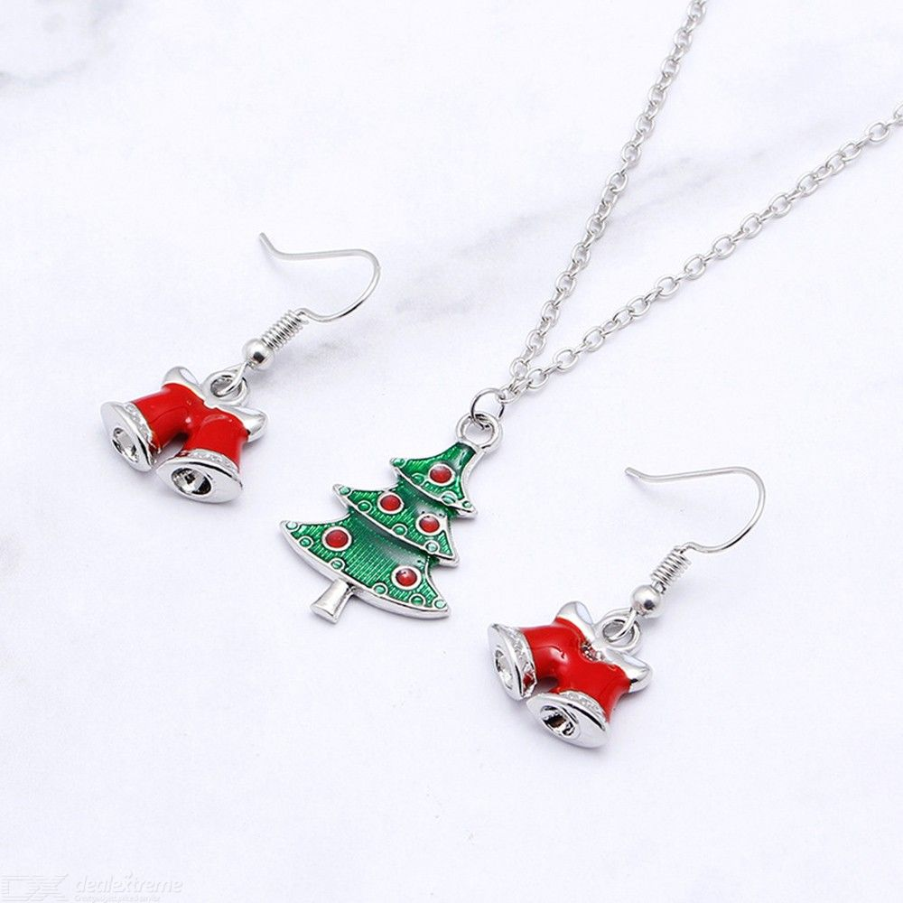 New Fashion Creative Jewelry Ladies Wild Christmas Series Dripping Oil  Bells Wreath Necklace Earrings Set 5afa9252a574a