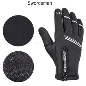 Men's Winter Warm Windproof Ski Bike Motorcycle Riding Gloves Touch Screen PU Full Finger Cycling Gloves