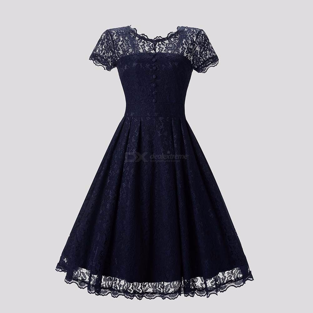 Womens Round Neck Short-sleeved Openwork Dress, Vintage-style Lace Dress For Women