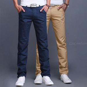 Fashion Men Business Casual Pants Cotton Slim Straight Trousers Spring Summer Long Pants