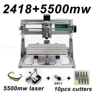 CNC2418 DIY Laser Engraving PCB Milling Machine Wood Carving Router(ER11+10Pcs Cutters+5500mw Laser+Protect Glasses)