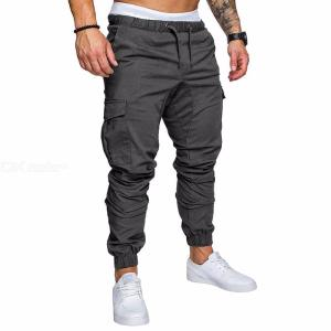 New Fashion Slim Solid Color Pocket Decoration Men Casual Pencil Drawstring Pants Trousers Designer Joggers