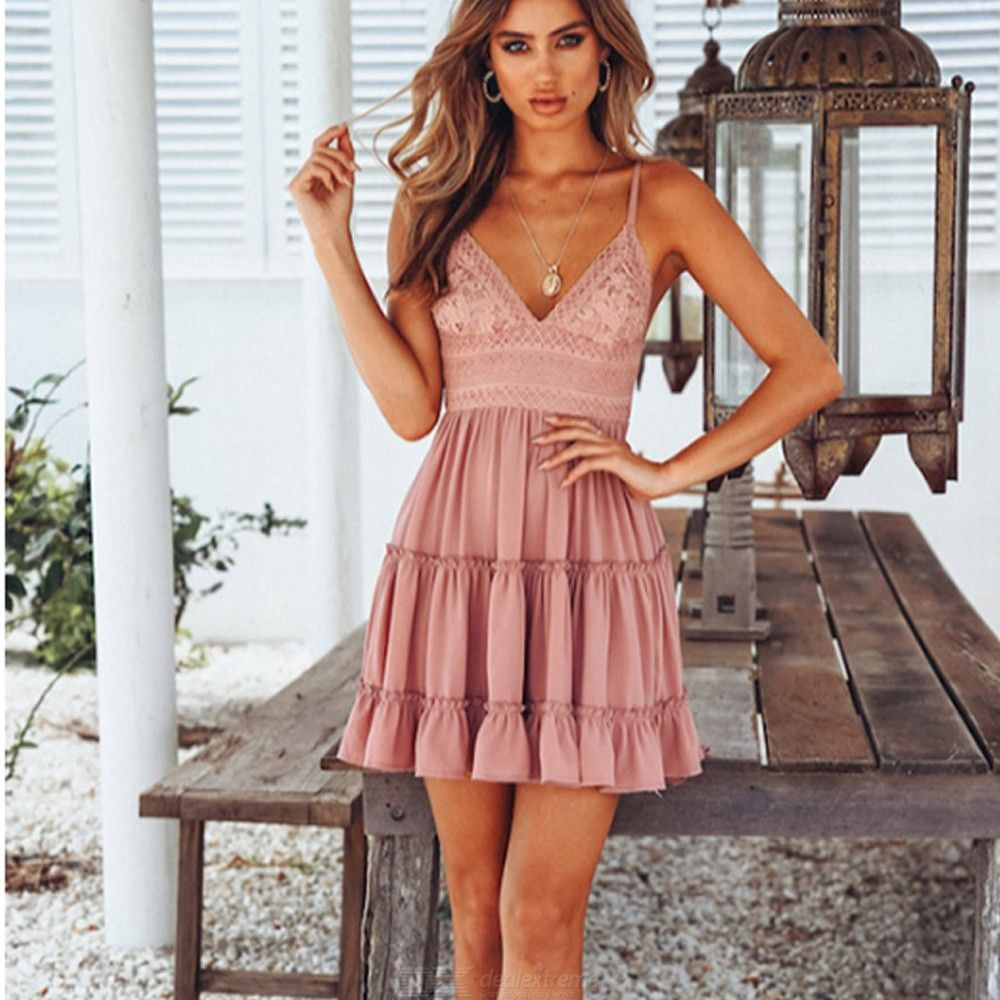Womens V-neck Sleeveless Lace Dress With Ruffles, Strappy Backless Lace Dress For Women