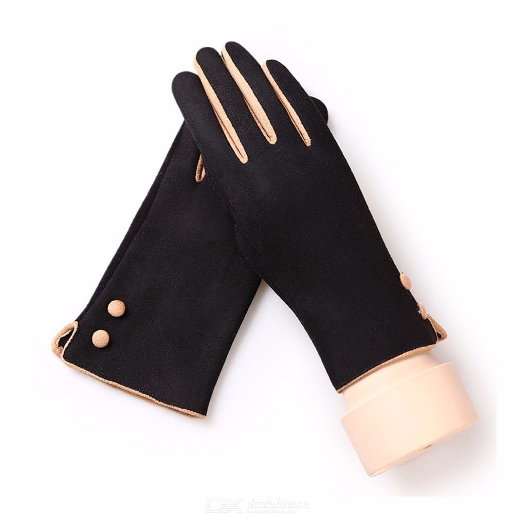 4Color Men Winter Autumn Warm Touch Screen Mitten Windproof Suede Fabric Gloves