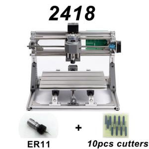 CNC2418 DIY Laser Engraving PCB Milling Machine Wood Carving Router(with ER11 + 10Pcs Cutters)