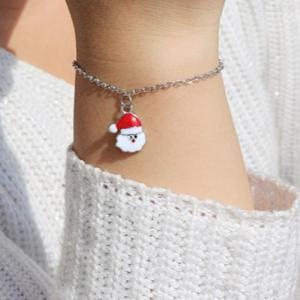 Christmas Fashion Bracelets Snake Chain Santa Claus Pendant Bracelet For Women Girls Gifts