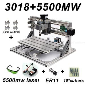 CNC3018 DIY Laser Engraving PCB Milling Machine Wood Carving Router(ER11+10Pcs Cutters+5500mw Laser+Protect Glasses)