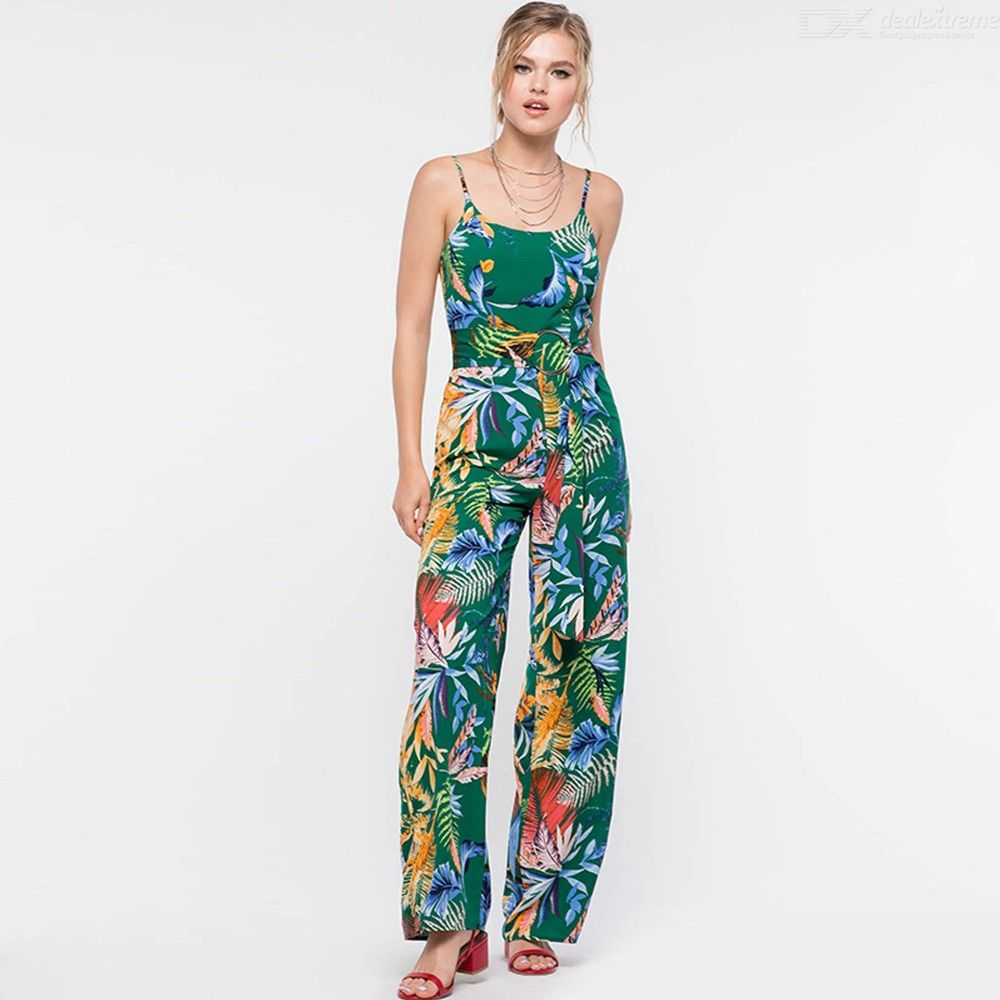 0b04188166b ... Fashion New Women s Casual Clothes Floral Leaves Print Spaghetti Strap  Jumpsuits Wide Leg Pants