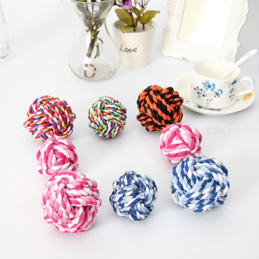Dog Pet Toys Ball Hand-woven Cotton Rope Ball Pet Supplies Bite-resistant Cleaning Teeth Interactive Toys Random Color
