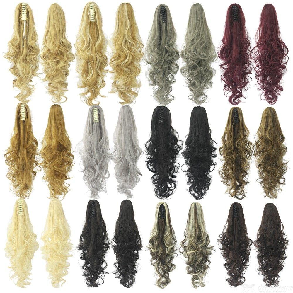 60cm Womens Long Curly Clip-in Wig, Synthetic High Temperature Fiber Wavy Hair For Women