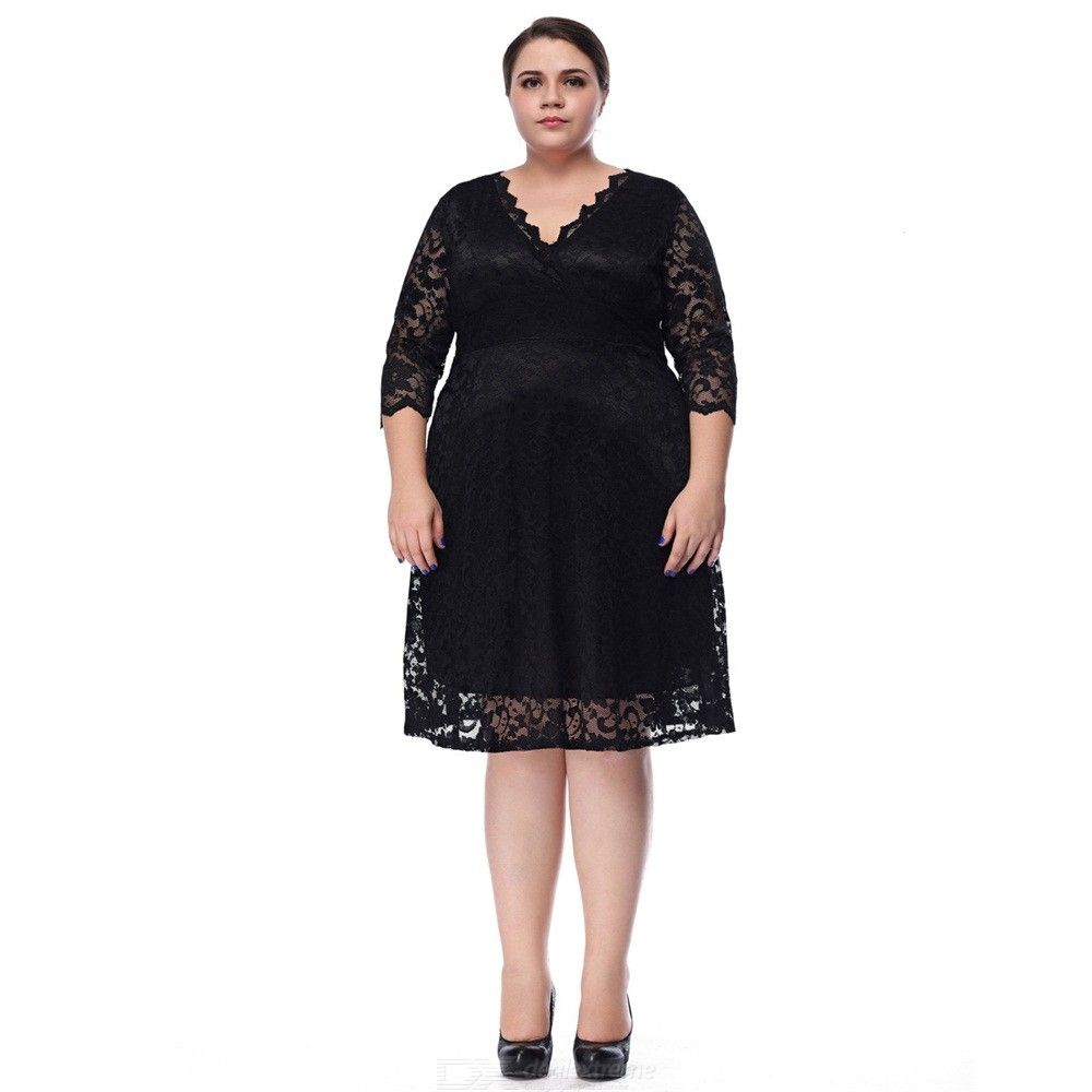 YB1004 Womens V-neckline Elbow-length Sleeve Lace Dress, Plus Size Lace Openwork Dress For Women
