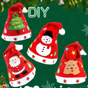 28cm To 35cm Childrens DIY Christmas Hat, Kids Create Your Own Non-woven Christmas Hat