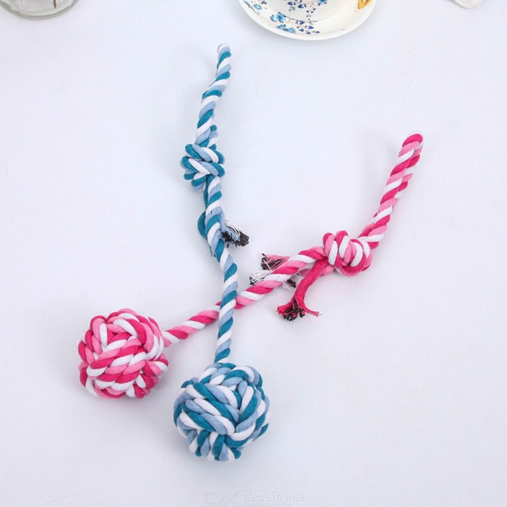 Puppy Pet Dog Cat Doggy Braided Biting Rope Chew Knot Toys Ball Teeth Clean Random Color