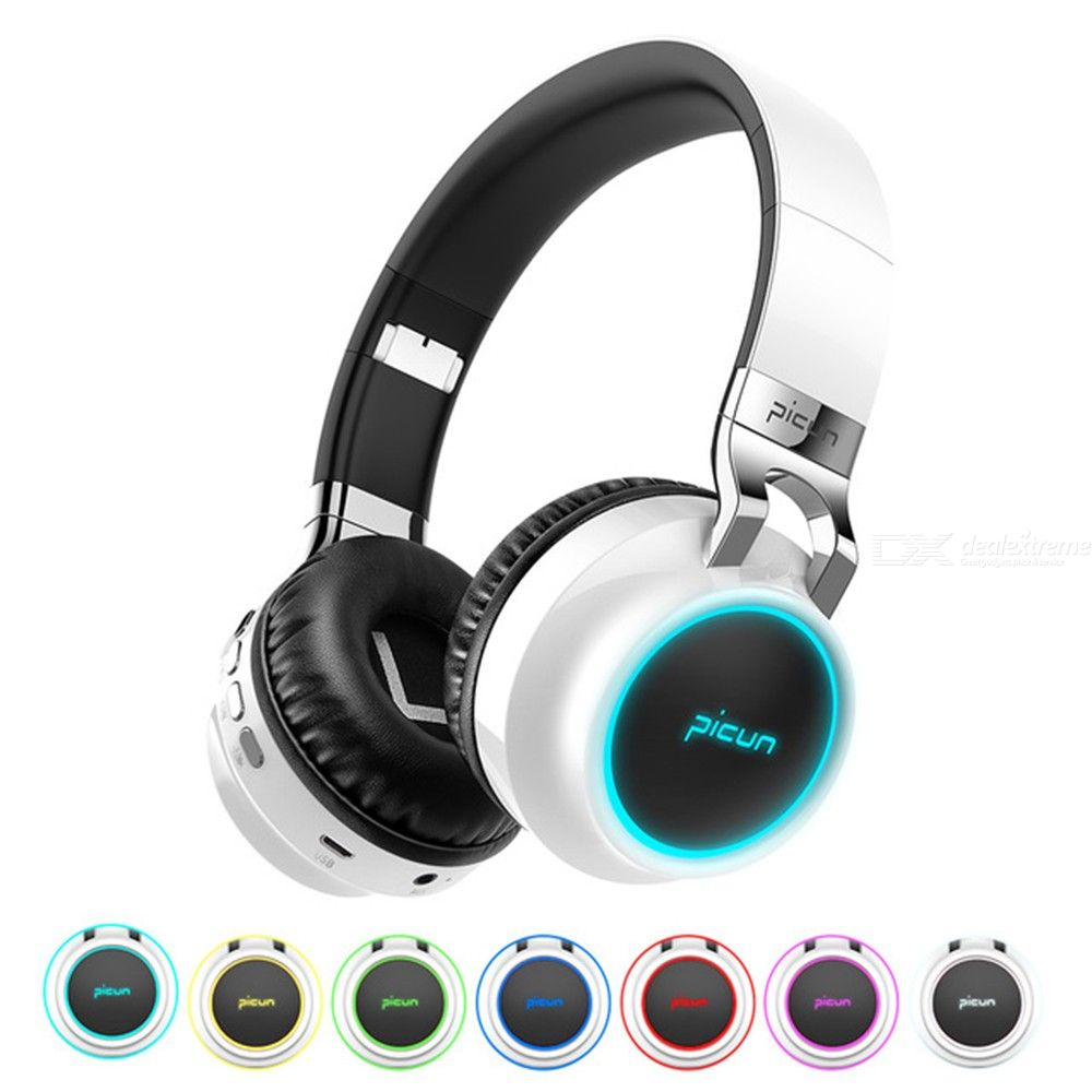Picun P60 Wireless Gamer Headset Luminous Headphones Support 7 Colors Glowing With Mic For Phone PC MP3