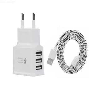 USB 5V 3.0A Quick Charger + Dual Side Plug Micro USB Data Cable