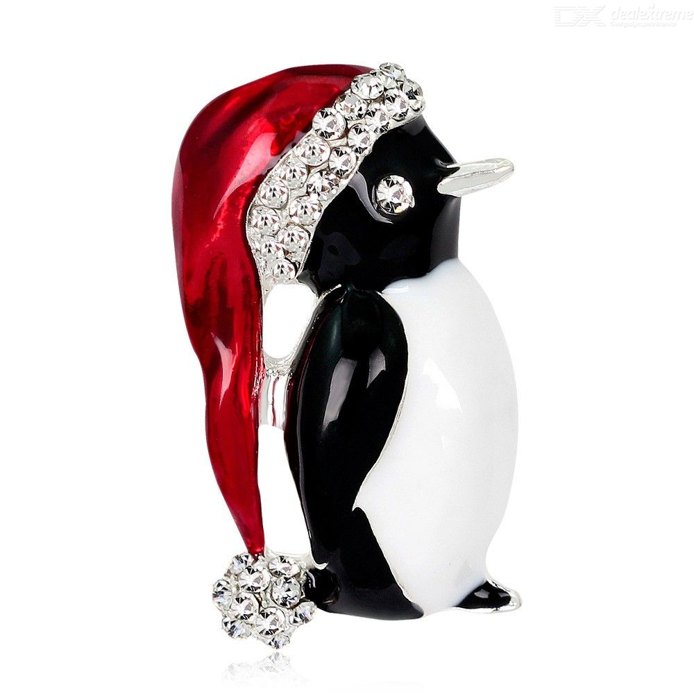 Penguin Hat Rhinestone Winter Creative Jewelry Women Gifts Christmas Brooches Pins
