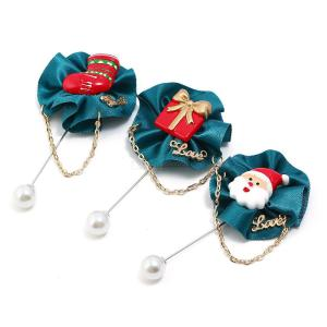 New Fashion Jewelry Fabrics Christmas Gift Box Socks Snowman Brooches Pin For Business Suit
