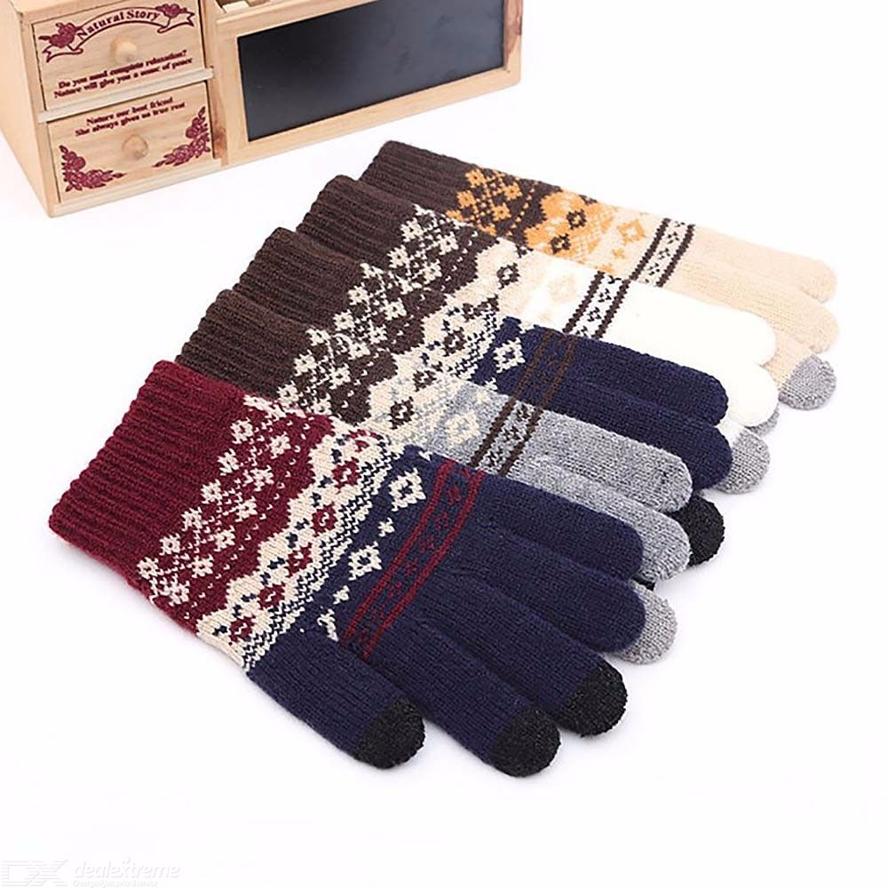 High Quality Winter Knitted Winter Warm Touch Screen Gloves Men Jacquard Pattern Gloves