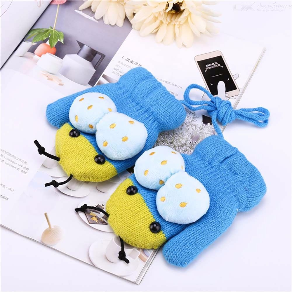 Cute Cartoon Beetles Quilted Winter Gloves,plush Insect Gloves For Kids