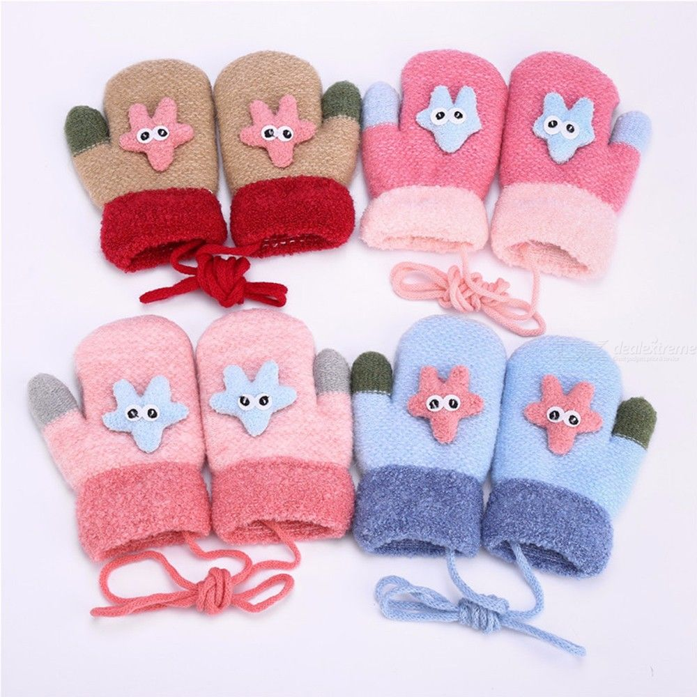 Cute Cartoon Quilted Winter Gloves With Straps,starfish Knit Gloves For Kids
