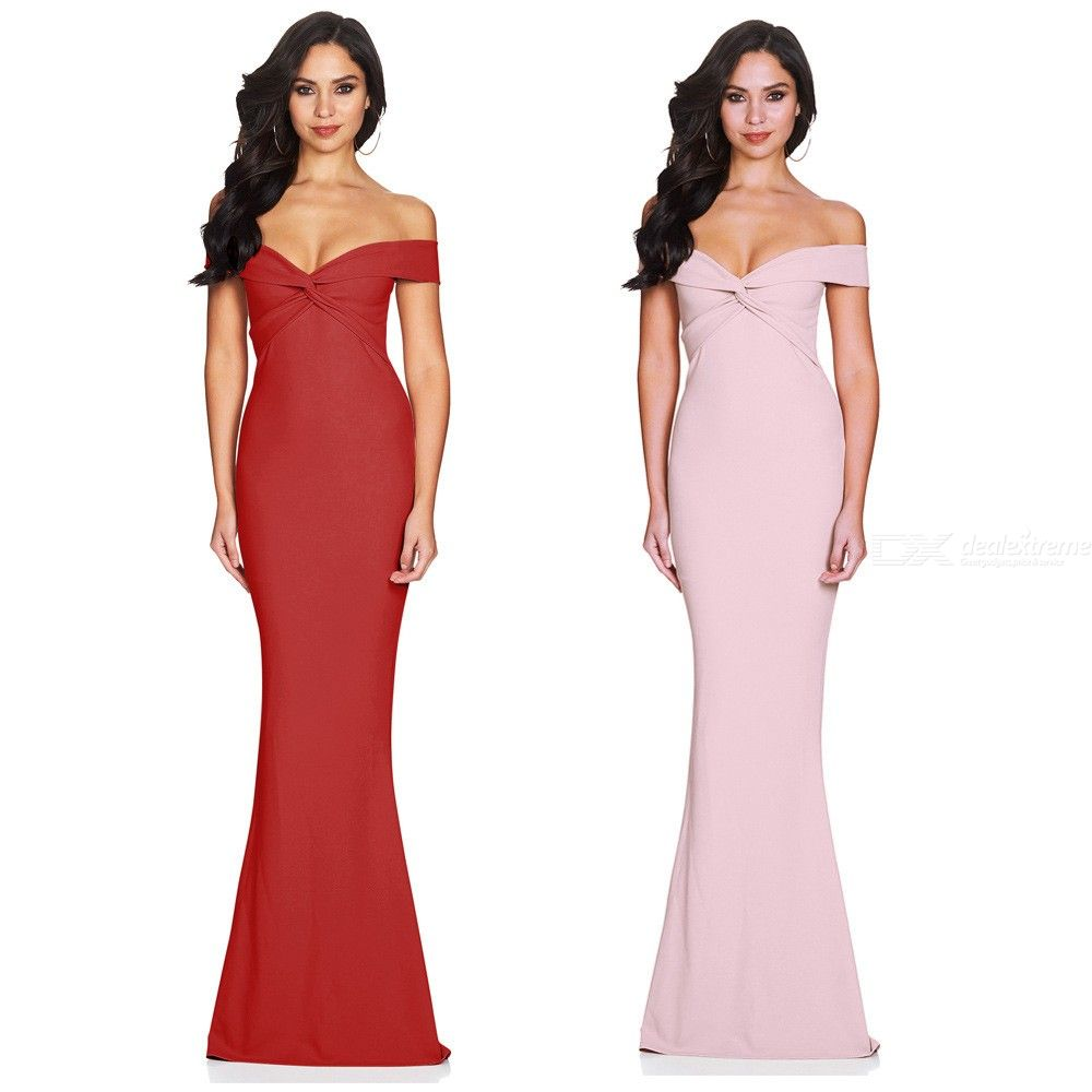 Womens Slash Neck Maxi Mermaid Dress, Solid Off-the-shoulder Evening Dress For Women