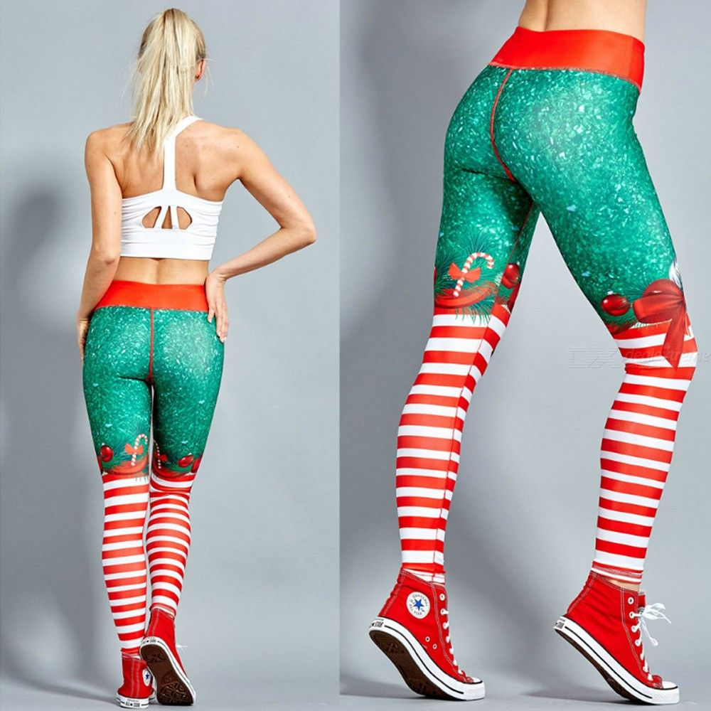 Autumn Women's Casual Christmas Print Tight-Fitting Stretch Pants Sports Mid Trousers Pencil Pants