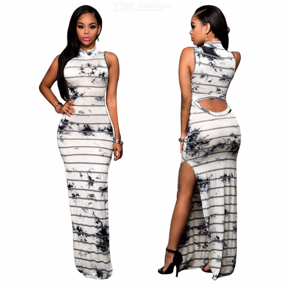 Womens Stand Collar Sleeveless Maxi Dress With Side Vents, Sexy Striped Print Dress For Women