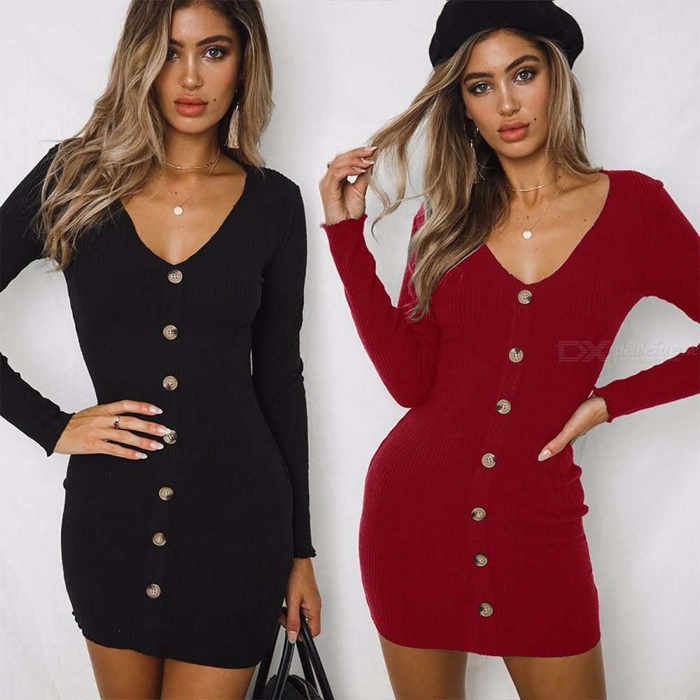 WQ020 Womens V-neck Long Sleeve Slim Fit Dress With Button Closure, Simple Solid Buttoned Dress For Women
