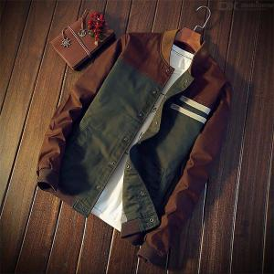 Korean Men's Jacket New Cultivate One's Morality Short Paragraph Color Matching Collar Jacket Baseball Uniform