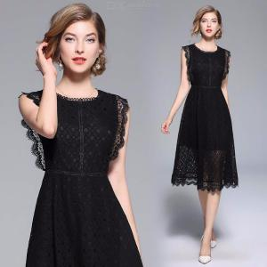 Womens Round Neck Sleeveless Openwork Lace Dress, Solid Openwork Dress With Lace Hem
