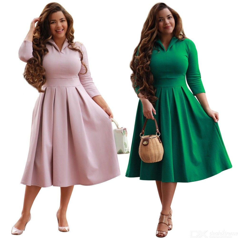 Womens Turn-down Collar Long Sleeve Maxi Dress, Solid Elbow-length Sleeve Dress For Women