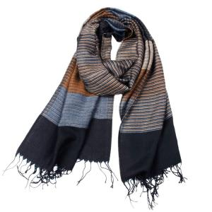 New Winter Men's Double Striped Cashmere Scarf Men High Quality Tassel Scarves