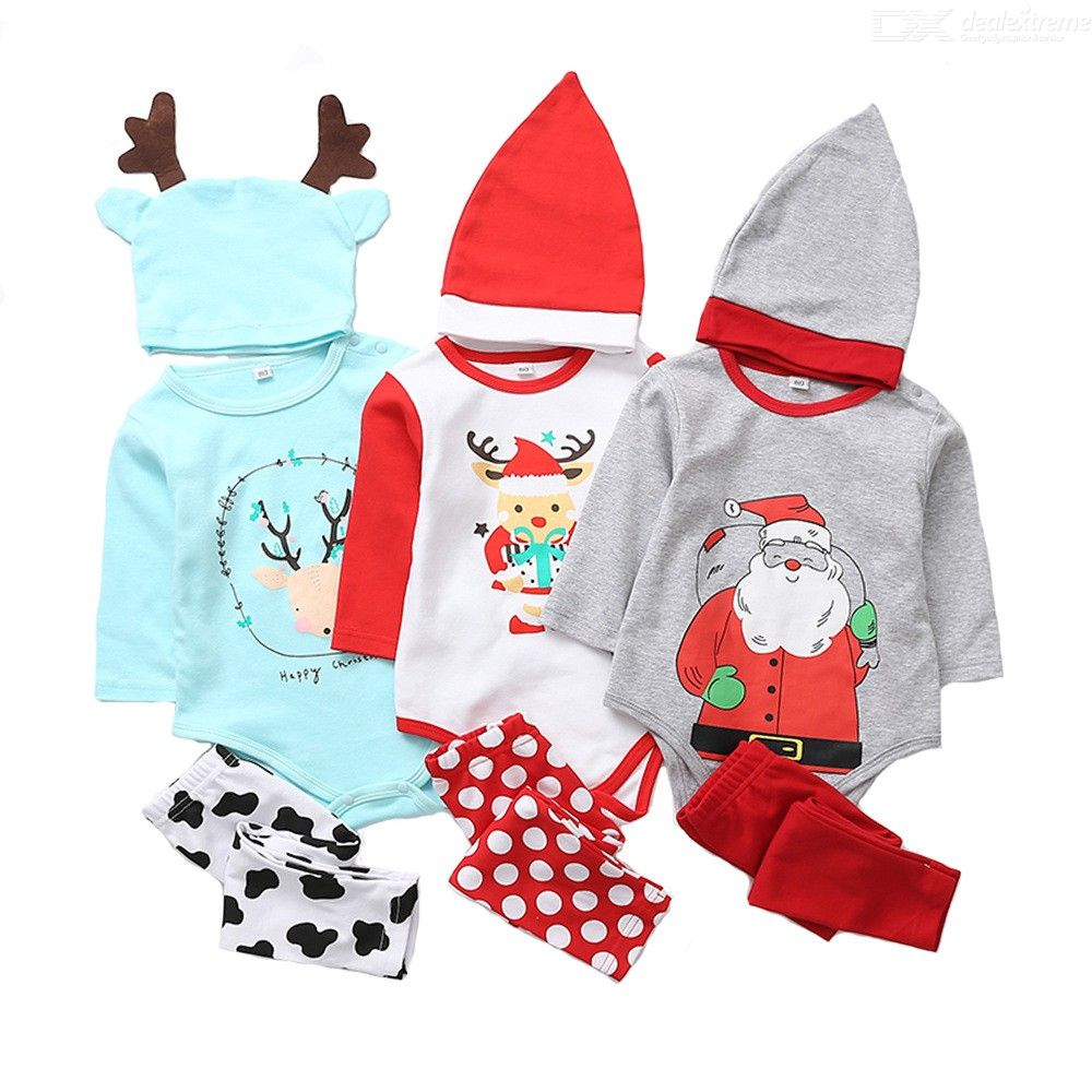 Christmas | Jumpsuit | Cartoon | Autumn | Winter | Print | Suit | Baby | Pant | Hat | Set