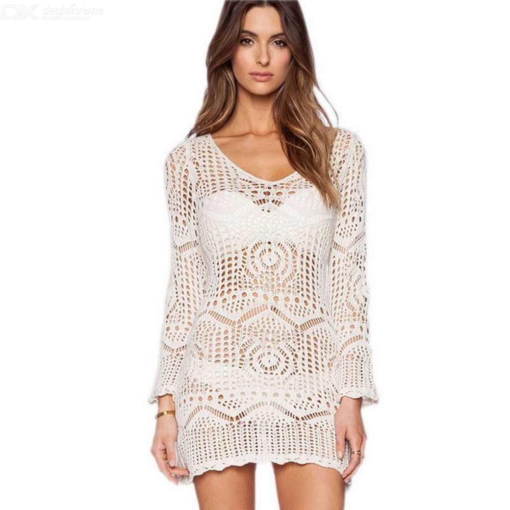 Beach Wear Summer Dress Tunic For Women Sexy Knitting Hollow Beach Cover Up With Sashes