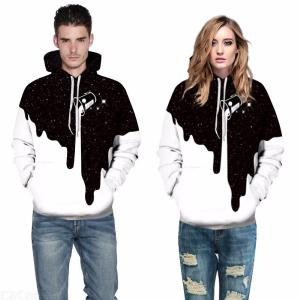 Explosion Models 3D Digital Printing Pullovers Milk Cup Large Size Loose Couple Hooded Sweatshirts